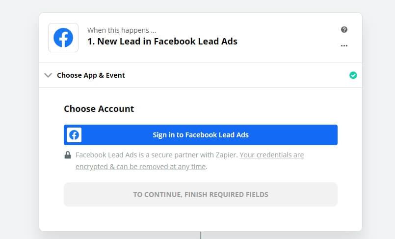 מדריך זאפייר - Facebook Lead ads - Step 2