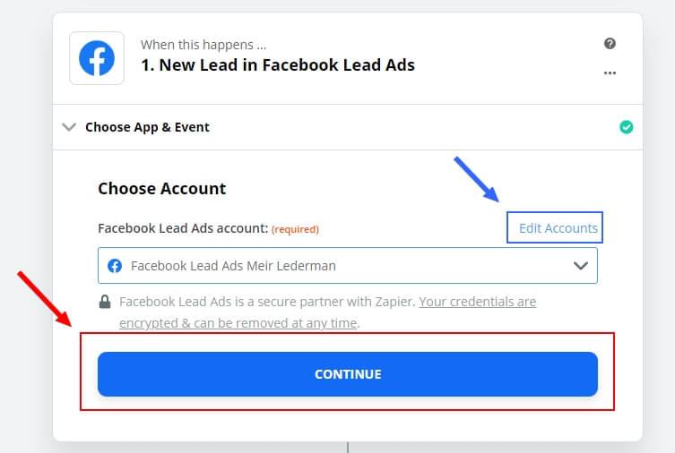 זאפייר Facebook Lead ads - Step 3