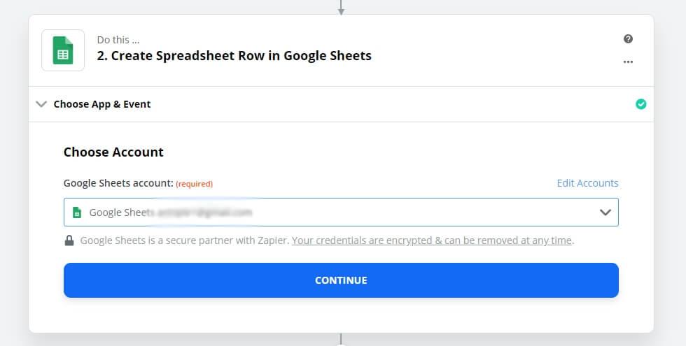 Google Sheet - step 3 - Choose Account