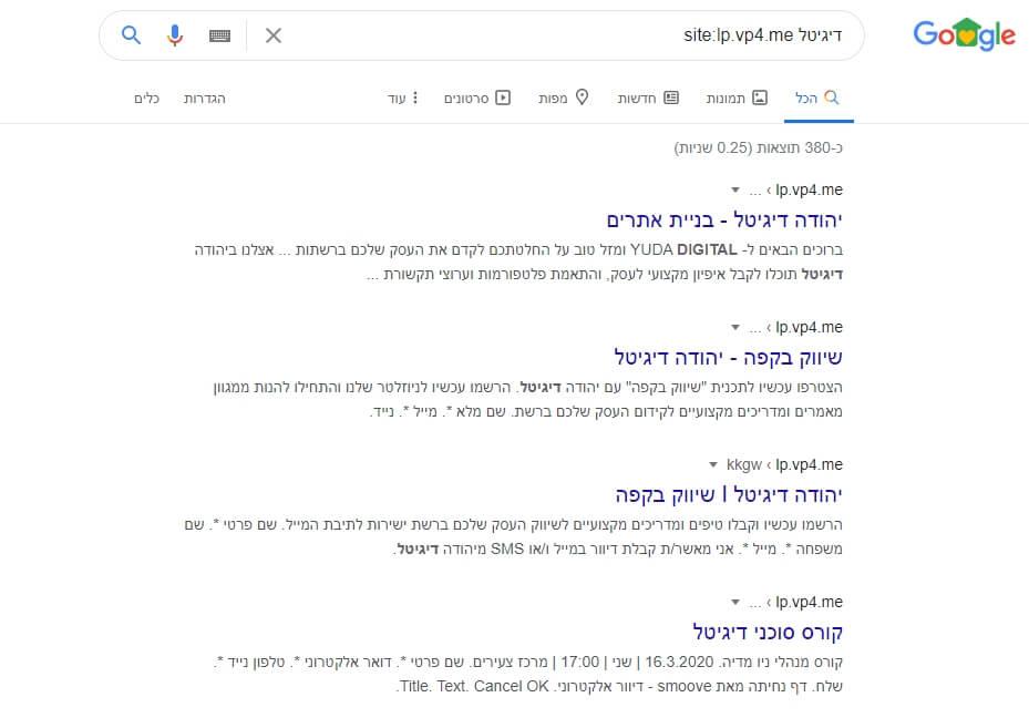 גוגל ניתוח תוצאות מתחרים
